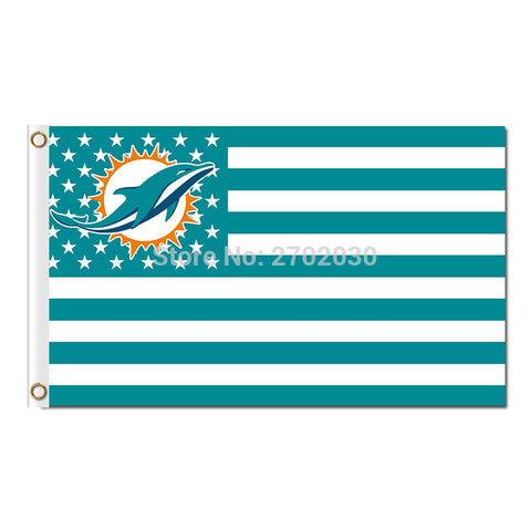 NFL Miami Dolphins USA Flag 3X5 Feet,  [product_collection], DEFINITE Sporting Goods, [product_tags]- DEFINITE Sporting Goods