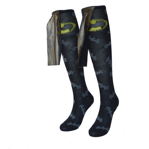 Balck Yellow Cloak Batman Socks for Women Cotton Knee High,  [product_collection], DEFINITE Sporting Goods, [product_tags]- DEFINITE Sporting Goods