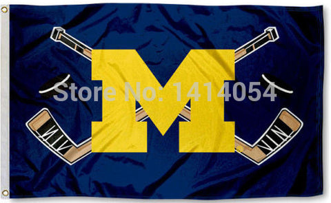 Michigan Wolverines Hockey Flag 3x5 ft,  [product_collection], DEFINITE Sporting Goods, [product_tags]- DEFINITE Sporting Goods