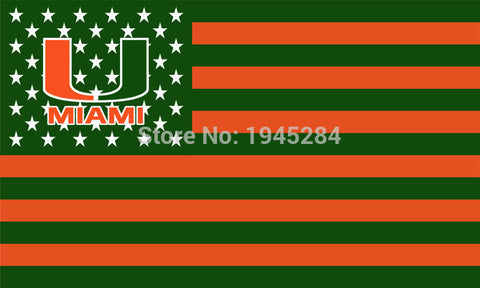 University of Miami Hurricanes with USA Flag 3x5FT,  [product_collection], DEFINITE Sporting Goods, [product_tags]- DEFINITE Sporting Goods