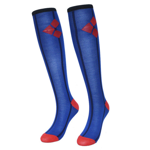 Harley Quinn Blue Women Socks Cotton Knee High,  [product_collection], DEFINITE Sporting Goods, [product_tags]- DEFINITE Sporting Goods