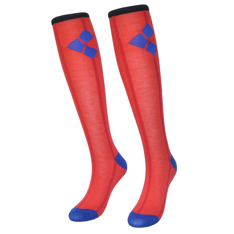 Harley Quinn Red Women Socks Cotton Knee High,  [product_collection], DEFINITE Sporting Goods, [product_tags]- DEFINITE Sporting Goods
