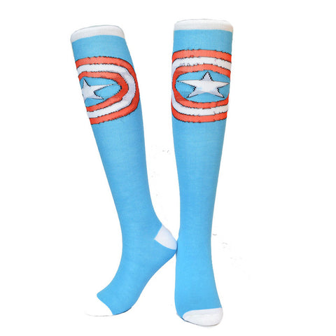 Captain America Shield Women Socks Cotton Knee High,  [product_collection], DEFINITE Sporting Goods, [product_tags]- DEFINITE Sporting Goods