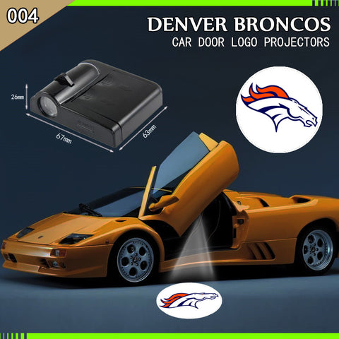 DENVER BRONCOS 2PCS WIRELESS LED CAR DOOR PROJECTORS,  [product_collection], DEFINITE Sporting Goods, [product_tags]- DEFINITE Sporting Goods