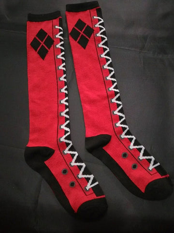 Harley Quinn Women Socks Cotton Knee High,  [product_collection], DEFINITE Sporting Goods, [product_tags]- DEFINITE Sporting Goods