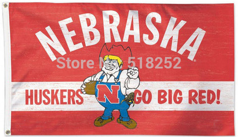 Nebraska Cornhuskers Throwback Vintage NCAA Flag 3x5 FT,  [product_collection], DEFINITE Sporting Goods, [product_tags]- DEFINITE Sporting Goods