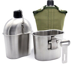 Stainless Steel Military Canteen 1L Portable with 0.5 L Cup,  [product_collection], DEFINITE Sporting Goods, [product_tags]- DEFINITE Sporting Goods