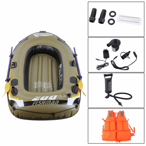 Inflatable Fishing Drift Boat Kit Life Jacket, Two Way Electric Pump Air Pump, Paddles,  [product_collection], DEFINITE Sporting Goods, [product_tags]- DEFINITE Sporting Goods