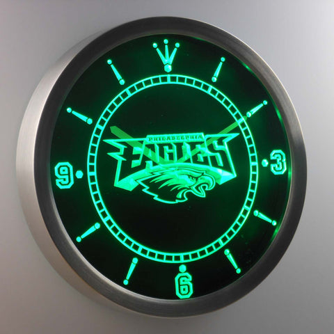 Philadelphia Eagles Neon Sign LED Wall Clock,  [product_collection], DEFINITE Sporting Goods, [product_tags]- DEFINITE Sporting Goods