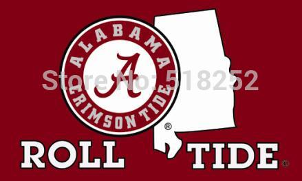 Alabama Crimson ROLL Tide STATE OUTLINE Flag NCAA 3x5 FT,  [product_collection], DEFINITE Sporting Goods, [product_tags]- DEFINITE Sporting Goods