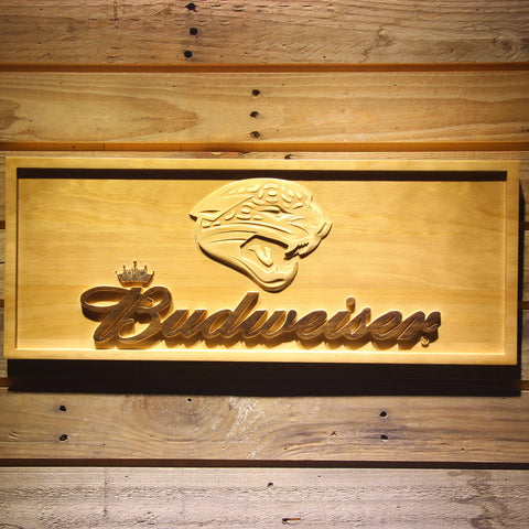 Jacksonville Jaguars Budweiser Beer 3D Wooden Bar Sign,  [product_collection], DEFINITE Sporting Goods, [product_tags]- DEFINITE Sporting Goods