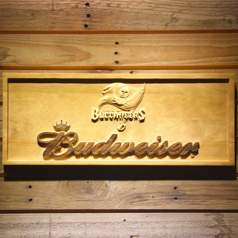 Tampa Bay Buccaneers Budweiser Beer 3D Wooden Bar Sign,  [product_collection], DEFINITE Sporting Goods, [product_tags]- DEFINITE Sporting Goods