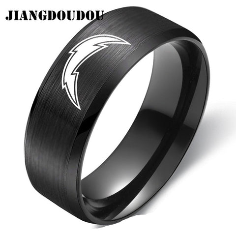Los Angeles Chargers Logo Men's Titanium Steel Ring,  [product_collection], DEFINITE Sporting Goods, [product_tags]- DEFINITE Sporting Goods