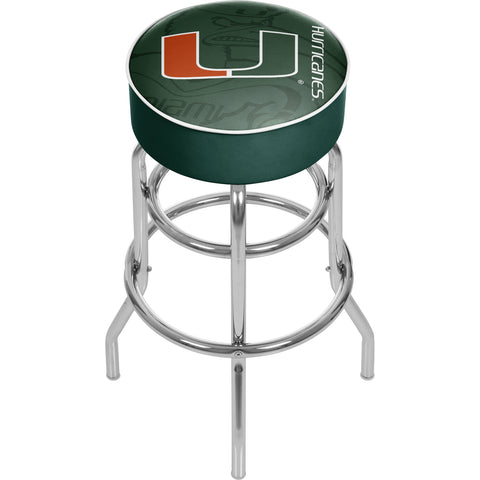 University of Miami Chrome Bar Stool with Swivel - Fade,  [product_collection], DEFINITE Sporting Goods, [product_tags]- DEFINITE Sporting Goods