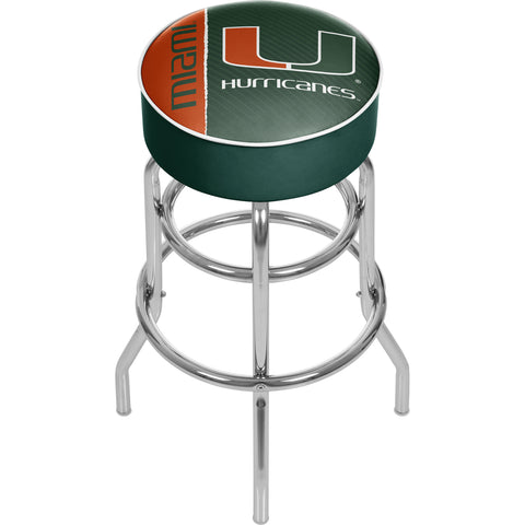 University of Miami Chrome Bar Stool with Swivel - Text,  [product_collection], DEFINITE Sporting Goods, [product_tags]- DEFINITE Sporting Goods