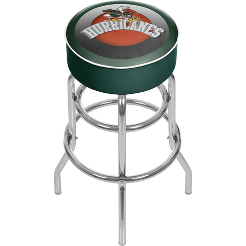 University of Miami Sebastian Chrome Bar Stool with Swivel - Honeycomb,  [product_collection], DEFINITE Sporting Goods, [product_tags]- DEFINITE Sporting Goods