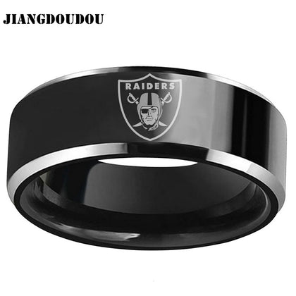 Oakland Raiders Logo Men's Titanium Steel Ring,  [product_collection], DEFINITE Sporting Goods, [product_tags]- DEFINITE Sporting Goods