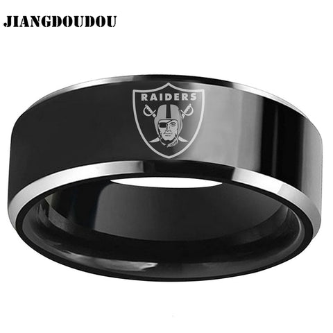 Oakland Raiders Logo Men's Titanium Steel Ring - DEFINITE Sports