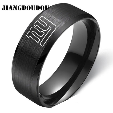 New York Giants Logo Men's Titanium Steel Ring,  [product_collection], DEFINITE Sporting Goods, [product_tags]- DEFINITE Sporting Goods