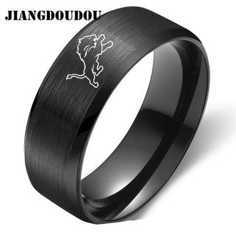 Detroit Lions Logo Men's Titanium Steel Ring,  [product_collection], DEFINITE Sporting Goods, [product_tags]- DEFINITE Sporting Goods