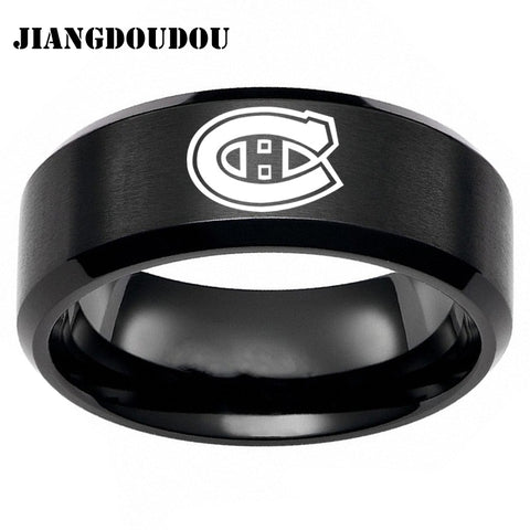 Montreal Canadians Logo Men's Titanium Steel Ring,  [product_collection], DEFINITE Sporting Goods, [product_tags]- DEFINITE Sporting Goods