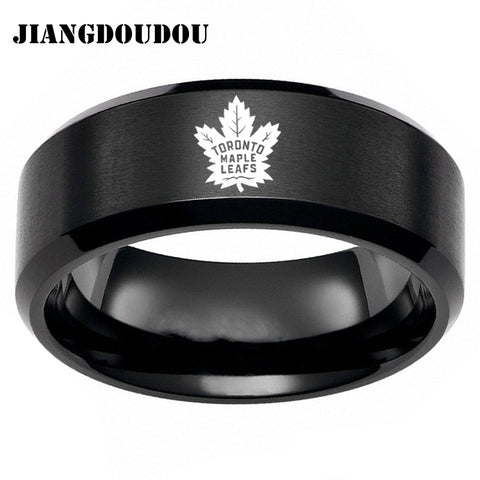 Toronto Maple Leafs Logo Men's Titanium Steel Ring,  [product_collection], DEFINITE Sporting Goods, [product_tags]- DEFINITE Sporting Goods