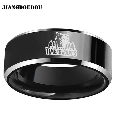 Minnesota Timberwolves Logo Men's Titanium Steel Ring,  [product_collection], DEFINITE Sporting Goods, [product_tags]- DEFINITE Sporting Goods