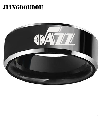 Utah Jazz Logo Men's Titanium Steel Ring,  [product_collection], DEFINITE Sporting Goods, [product_tags]- DEFINITE Sporting Goods