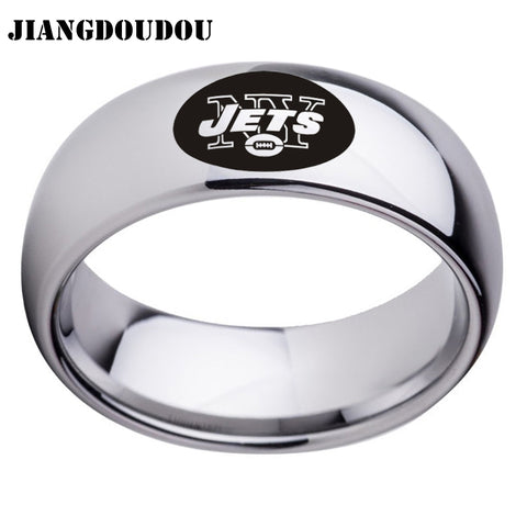 New York Jets Logo Men's Titanium Steel Ring,  [product_collection], DEFINITE Sporting Goods, [product_tags]- DEFINITE Sporting Goods