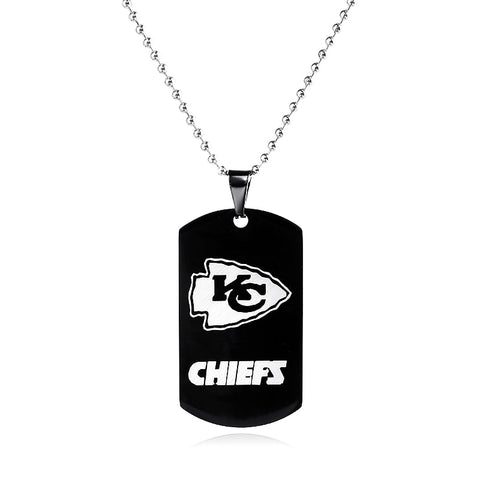 Kansas City Chiefs Necklace Men Black Stainless Steel Military Tags,  [product_collection], DEFINITE Sporting Goods, [product_tags]- DEFINITE Sporting Goods