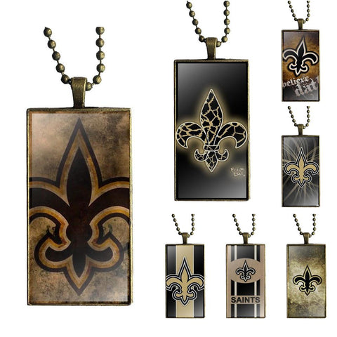 New Orleans Saints Logo Fashion Glass Necklace,  [product_collection], DEFINITE Sporting Goods, [product_tags]- DEFINITE Sporting Goods