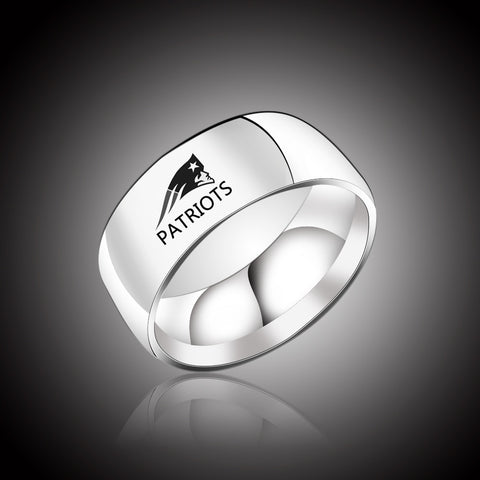 Mens New England Patriots logo Stainless Steel Rings