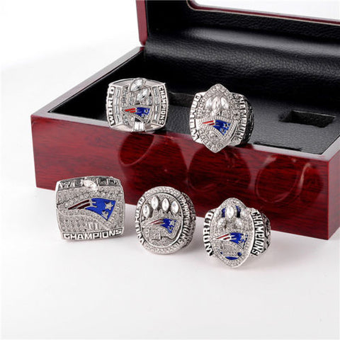 Replica New England Patriots Championship Ring 5 Pcs Set,  [product_collection], DEFINITE Sporting Goods, [product_tags]- DEFINITE Sporting Goods