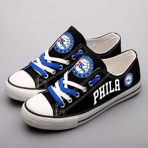 Philadelphia 76ers Womens Custom NBA Canvas Shoes Black,  [product_collection], DEFINITE Sporting Goods, [product_tags]- DEFINITE Sporting Goods