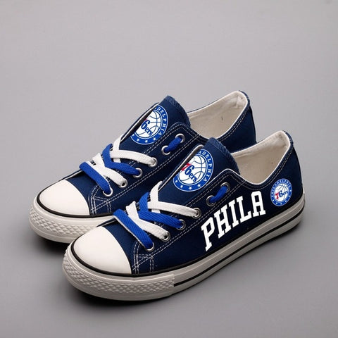 Philadelphia 76ers Womens Custom NBA Canvas Shoes Navy,  [product_collection], DEFINITE Sporting Goods, [product_tags]- DEFINITE Sporting Goods