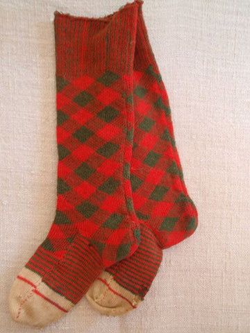 Red and green wool socks