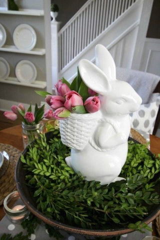 bunny decor with greenery