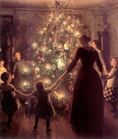Victorian family singing around the Christmas tree
