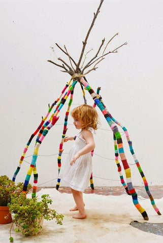 colorful stick tent