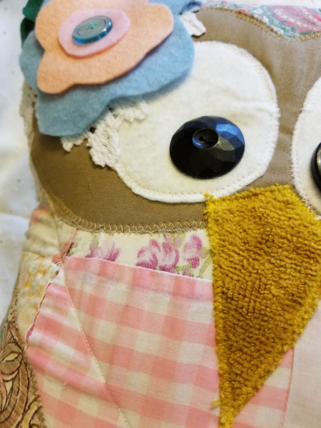 owl pillow made from quilt
