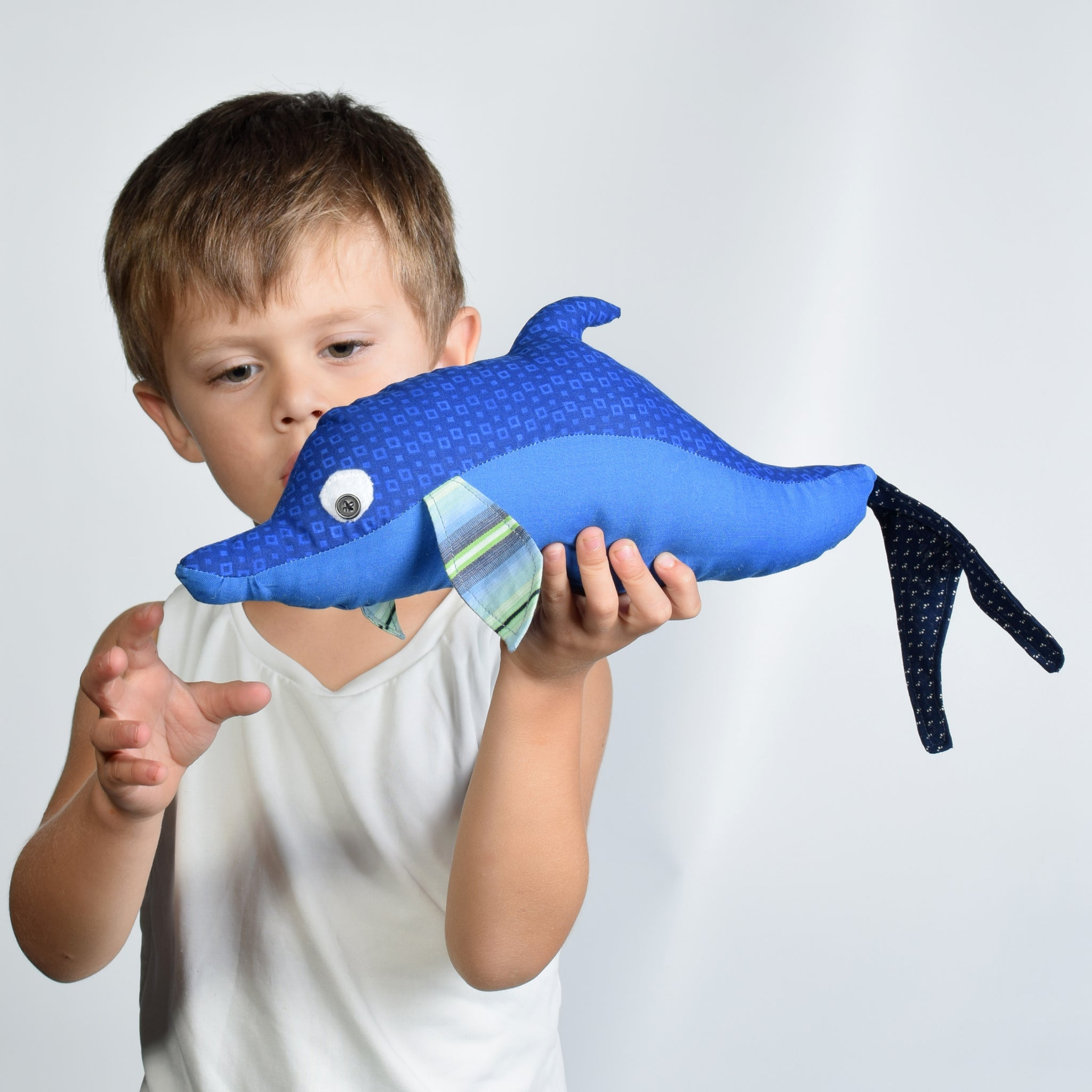 Boy holding dolphin