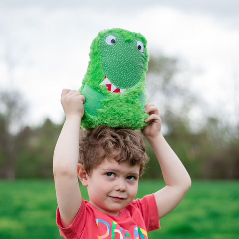 boy holding dinosaur pillow