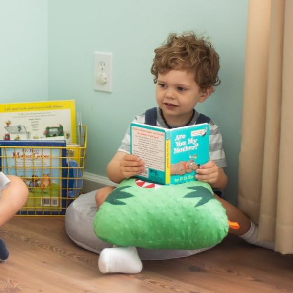 Boy reading to dinosaur