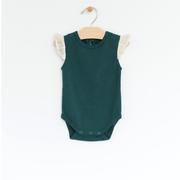 City Mouse - Pine Flutter Sleeve Bodysuit