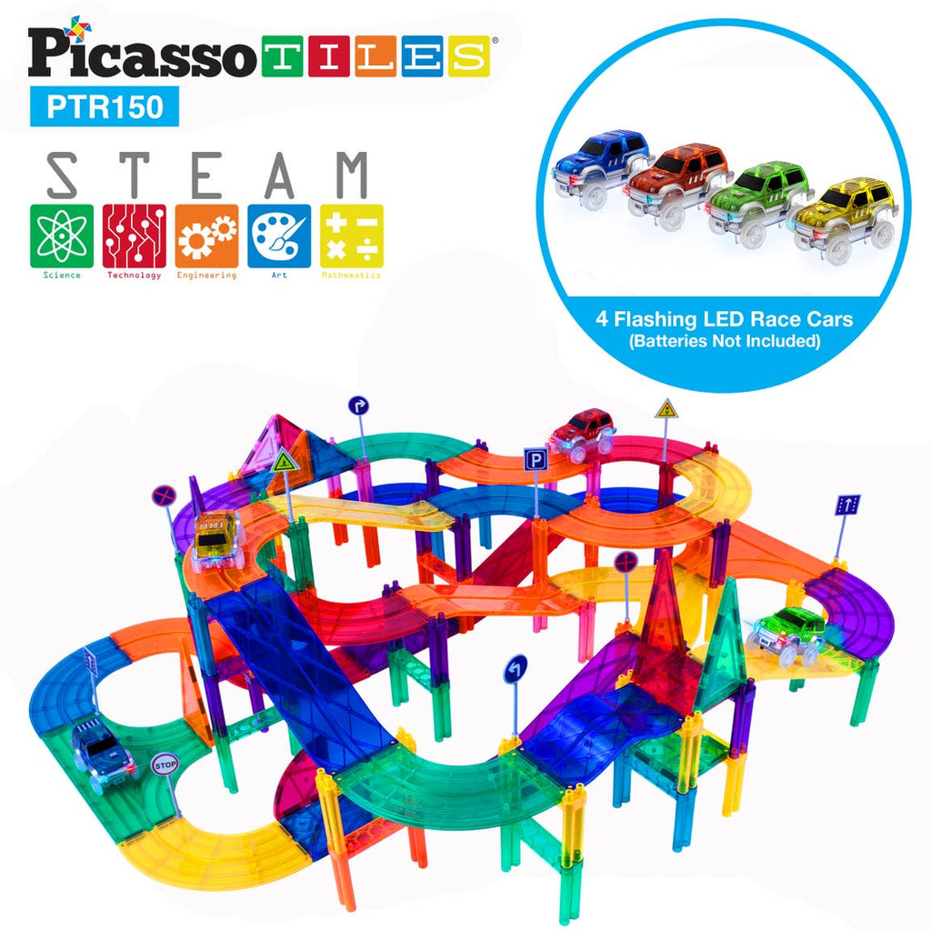 Picasso Tiles 150 Piece Race Track Magnetic Building Blocks