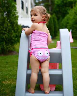 Doodle Pants Pink Monster Swim Suit