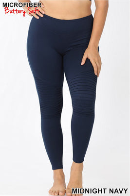 Zenana Navy Moto Leggings
