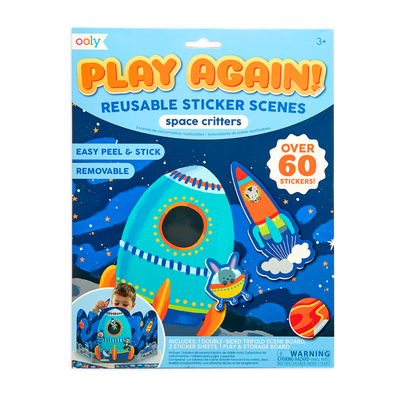 Ooly Play Again Reusable Sticker Scenes Space Critters