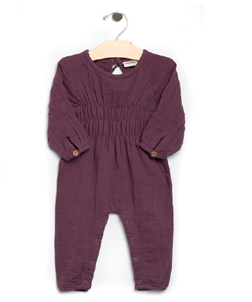 City Mouse - Fig Muslin Smocked Romper