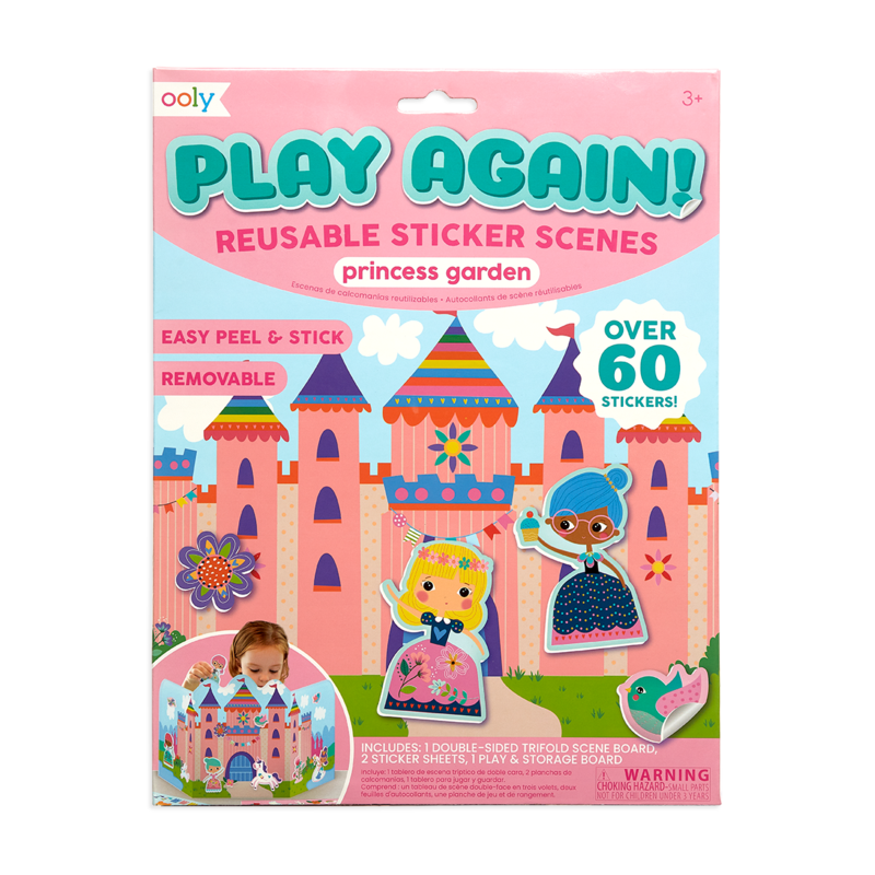 Ooly Play Again Reusable Sticker Scenes Princess Garden